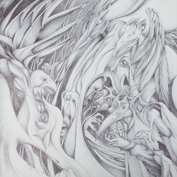 Drôles d'oiseaux - 40x40cm - Vendu