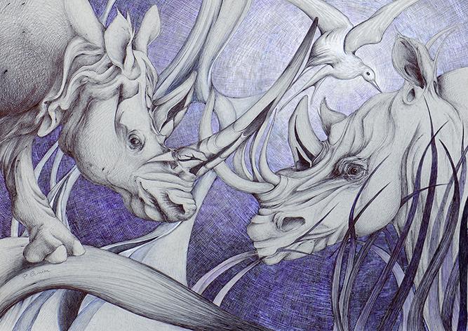 Rhinos d'amour - 50x70cm -