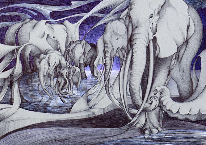 Eléphants à l'aube - 50x70cm -