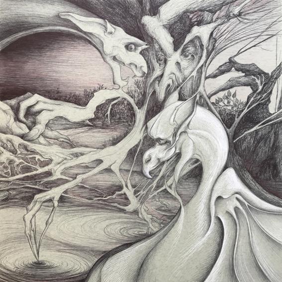 Dragons des bois - 40x40cm - Vendu