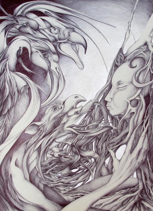 oiseaux, visage, branches, stylo, patricia cronier zohar