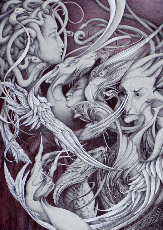 gorgones, méduse, stylo, patricia cronier zohar