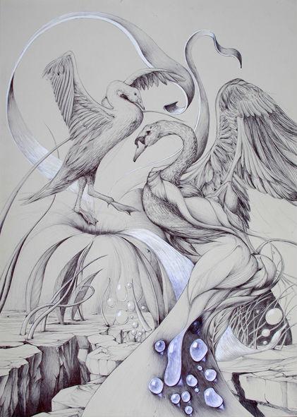 cygnes, cygne oiseau trou eau métamorphose envol
