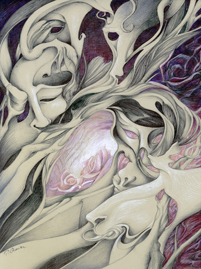 Masques Roses - 40x30cm -